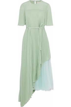 CHRISTOPHER KANE Layered pleated tulle and washed-silk midi dress