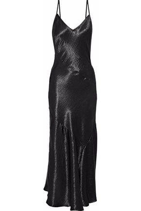REBECCA MINKOFF Max fluted crinkled-satin midi dress