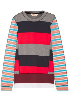 MARNI Mesh-paneled striped cotton-blend sweater