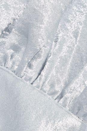 REBECCA MINKOFF One-shoulder cutout crushed-satin top