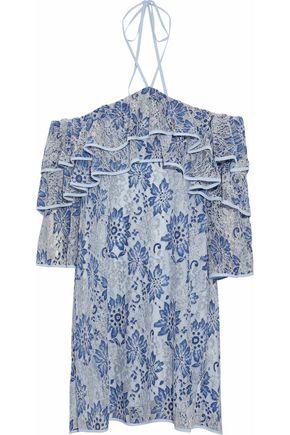 REBECCA MINKOFF Cold-shoulder ruffled corded lace mini dress