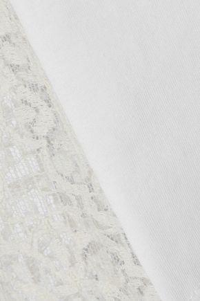 REDValentino Paneled cotton-jersey and lace T-shirt