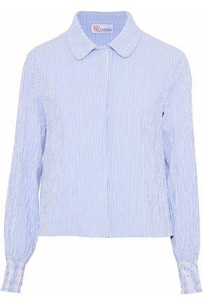 REDValentino Smocked striped cotton-blend seersucker jacket