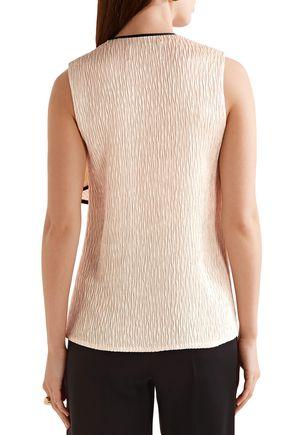 JASON WU Ruffled plissé-satin blouse