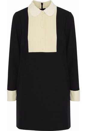 REDValentino Lace-trimmed pintucked crepe de chine-paneled ponte mini dress
