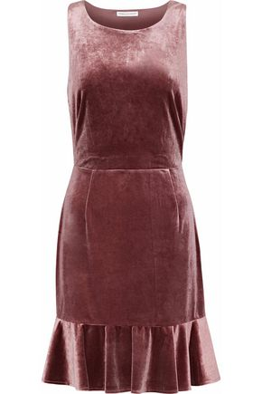REBECCA MINKOFF Tiffany ruffled cutout velvet mini dress