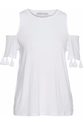 REBECCA MINKOFF Cold-shoulder tasseled stretch-knit top