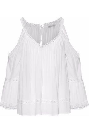 REBECCA MINKOFF Deneuve cold-shoulder lace-trimmed gauze blouse