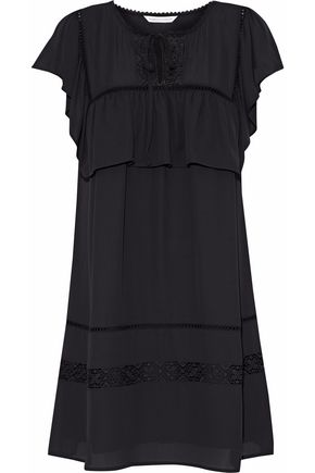 REBECCA MINKOFF Giupure lace-paneled ruffled chiffon mini dress