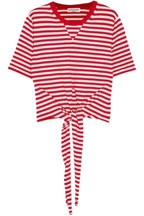 SONIA RYKIEL Tie-front striped cotton-blend jersey T-shirt