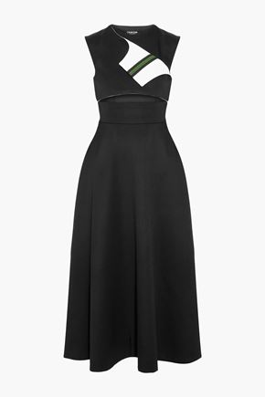 CALVIN KLEIN 205W39NYC Cutout wool-twill midi dress