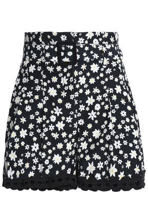 NICHOLAS Crochet-trimmed floral-print silk shorts