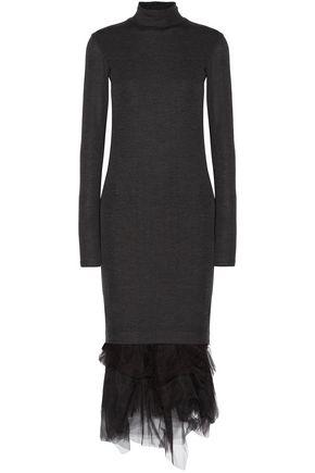 BRUNELLO CUCINELLI Tulle-trimmed wool-jersey turtleneck midi dress