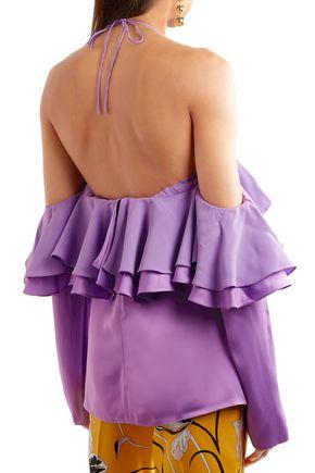 EMILIO PUCCI Off-the-shoulder ruffled satin halterneck blouse