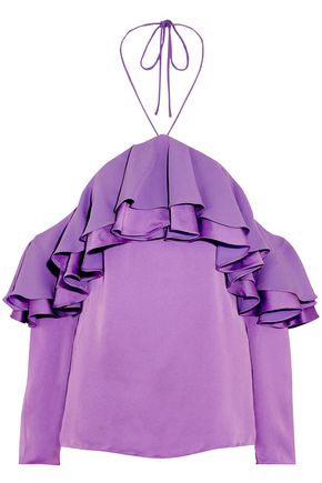 EMILIO PUCCI Off-the-shoulder ruffled satin halterneck blouse