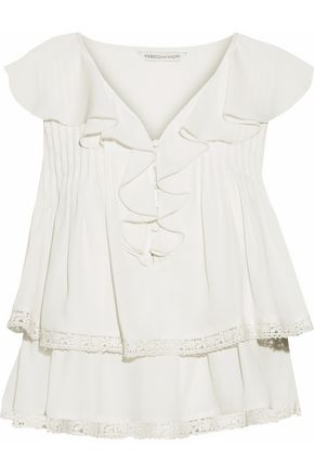 REBECCA MINKOFF Everley crochet-trimmed ruffled crepe de chine blouse
