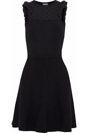 REDValentino Broderie anglaise-paneled stretch-knit mini dress