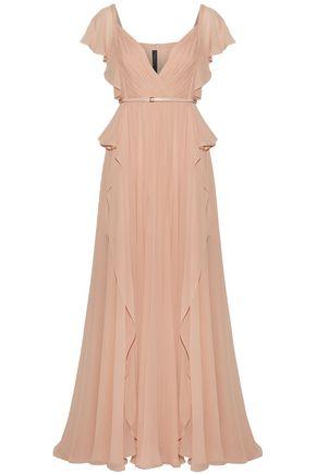 ELIE SAAB Belted pleated silk-georgette gown