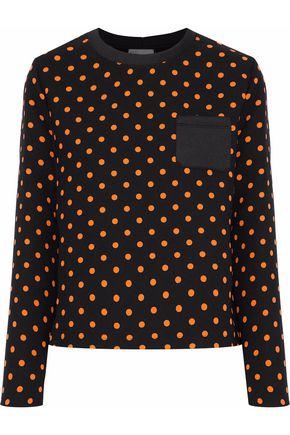 REDValentino Neoprene-paneled polka-dot cady top