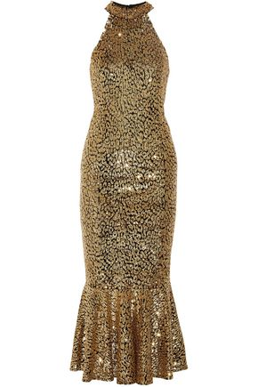 MICHAEL KORS COLLECTION Fluted sequined tulle midi dress