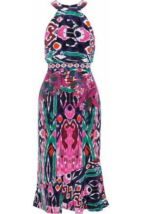 SALONI Ruby printed silk crepe de chine midi dress