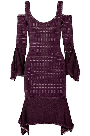 HERVÉ LÉGER Kamryn cold-shoulder bandage and pointelle-knit dress
