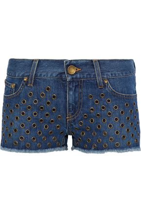 REDValentino Eyelet-embellished frayed denim shorts