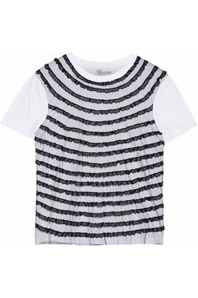 REDValentino Layered point d'esprit-trimmed tulle and cotton-jersey T-shirt