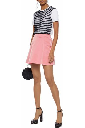 2f311d90c5 REDValentino Layered point d'esprit-trimmed tulle and cotton-jersey T-shirt