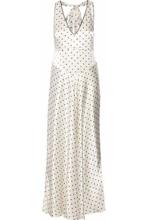 GANNI Leclair polka-dot satin maxi dress