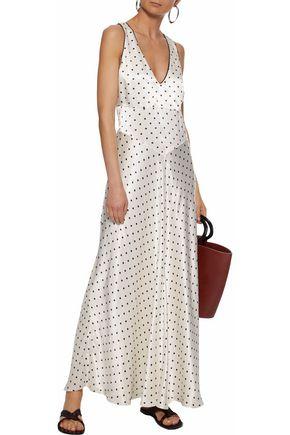 3a3fa15c77 Shoptagr   Leclair Polka Dot Satin Maxi Dress by Ganni