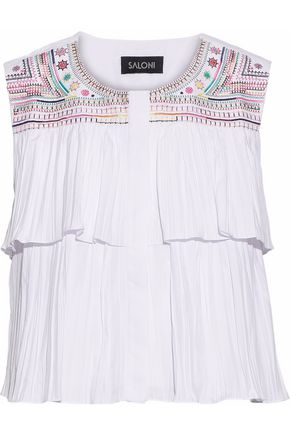SALONI Cleo embroidered pleated poplin top