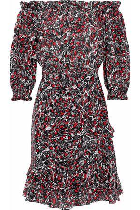 SALONI Grace off-the-shoulder printed silk crepe de chine dress