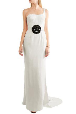OSCAR DE LA RENTA One-shoulder embellished velvet gown