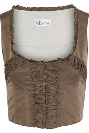 REDValentino Cropped ruched shell bustier top