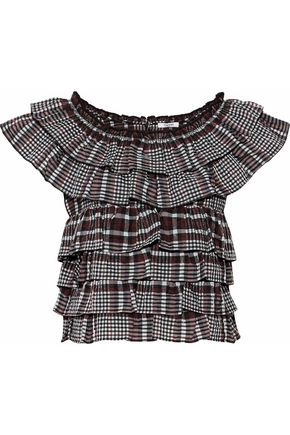 GANNI Ruffled checked seersucker cotton-blend top