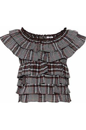 GANNI Ruffled checked seersucker cotton-blend top