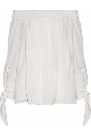 DEREK LAM Off-the-shoulder knotted  silk crepe de chine top