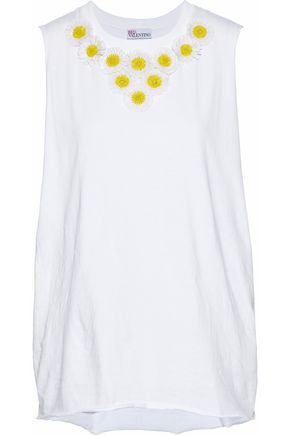 REDValentino Floral-appliquéd cotton-jersey top