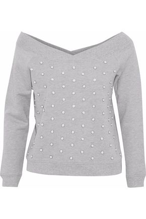 REBECCA MINKOFF Faux pearl-embellished French cotton-terry sweatshirt