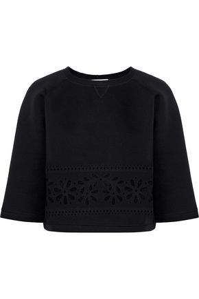 REDValentino Cropped laser-cut cotton-neoprene sweatshirt