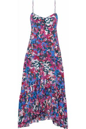SALONI Inga fluted floral-print silk crepe de chine midi dress