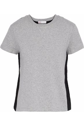 REDValentino Broderie anglaise-paneled mélange cotton-jersey T-shirt