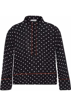 GANNI Monette polka-dot georgette shirt