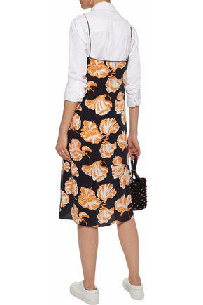 GANNI Geroux printed washed-silk slip dress