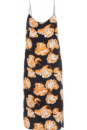 GANNI Geroux printed washed-silk slip dress