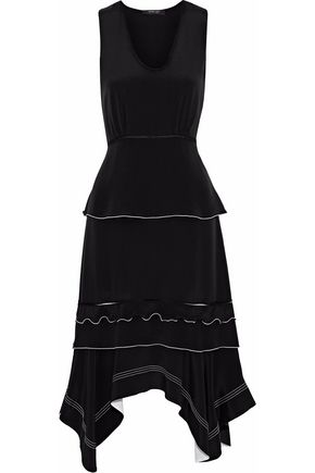 WOMAN ASYMMETRIC TIERED SATIN DRESS BLACK