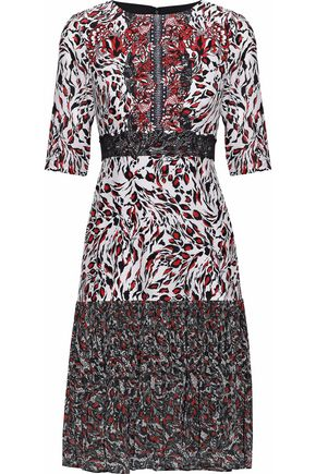 SALONI Vera printed silk crepe de chine and pleated chiffon dress