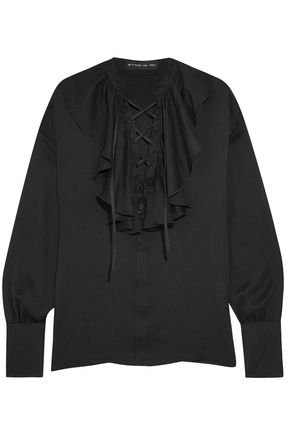 ETRO Lace-up ruffle-trimmed silk-jacquard blouse