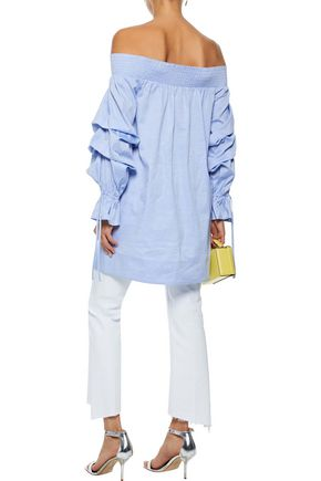 REBECCA MINKOFF Nicola off-the-shoulder gathered cotton-chambray top